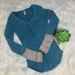 Free People Blue Alpine Thermal Henley Knit Shirt